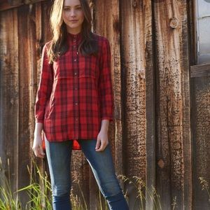 LL Bean Heritage Utility Tunic Red Plaid Blouse